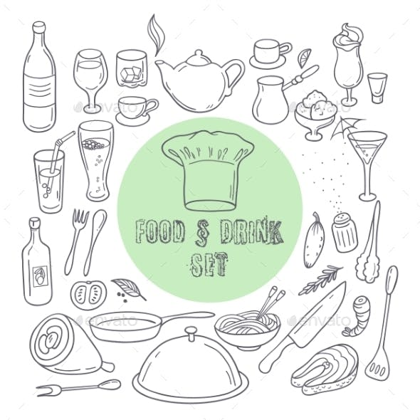 Food And Drink Outline Doodle Icons. Set Of Hand