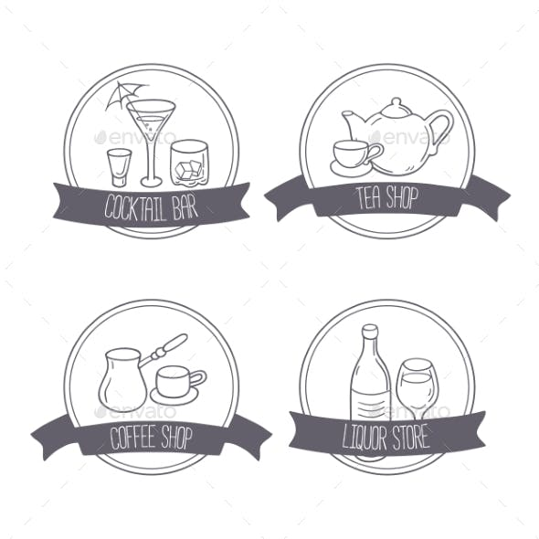 Hand Drawn Different Beverage Icon Logos. Doodle