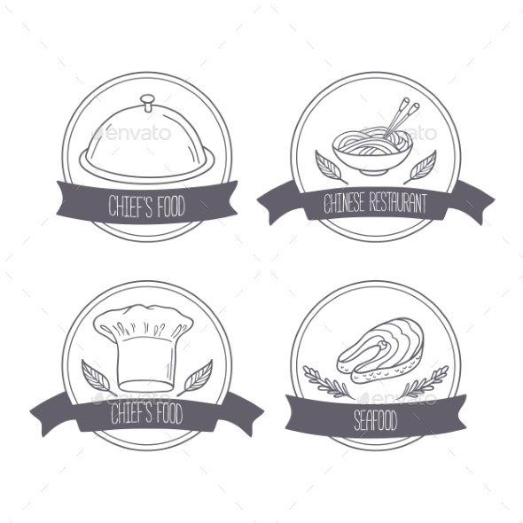 Hand Drawn Food Labels For Menu Or Cafe Design - Food Objects