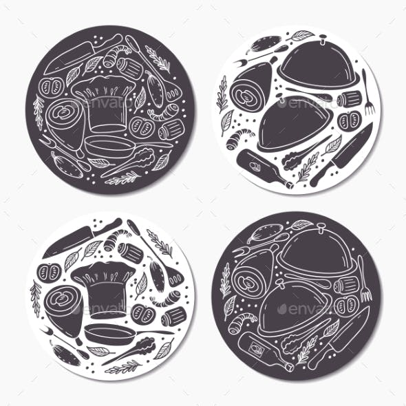 Round Stickers Set With Doodle Food Patterns. Hand