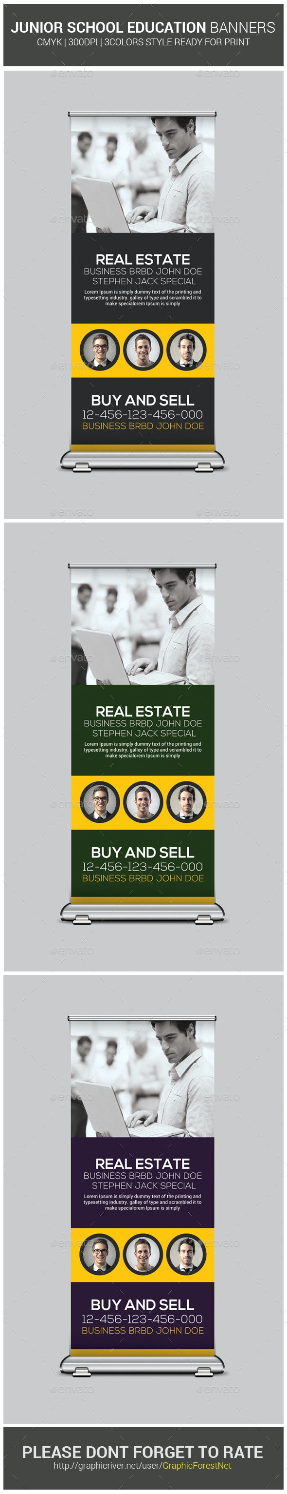 Real Estate Business Roll-Up Banners - Signage Print Templates