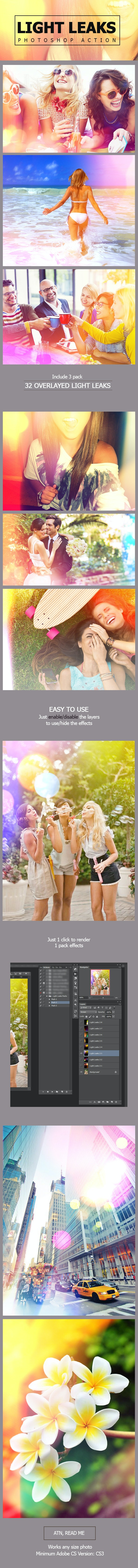 Light Leaks Photoshop Action - Photo Effects Actions