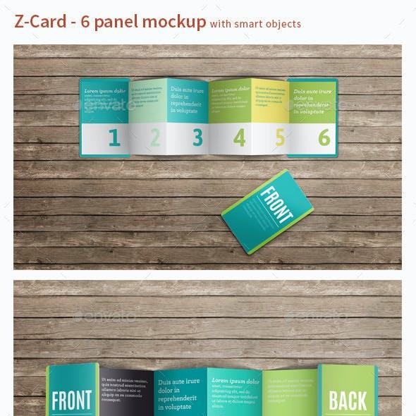 Z-Card Mock-up - 6 Panels C-Fold