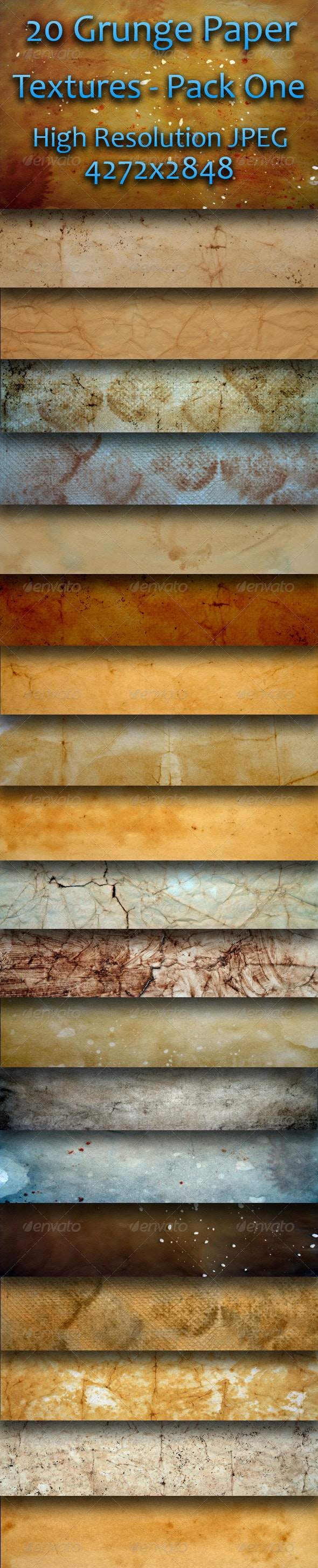 20 Grunge Paper Textures - Pack One  - Paper Textures