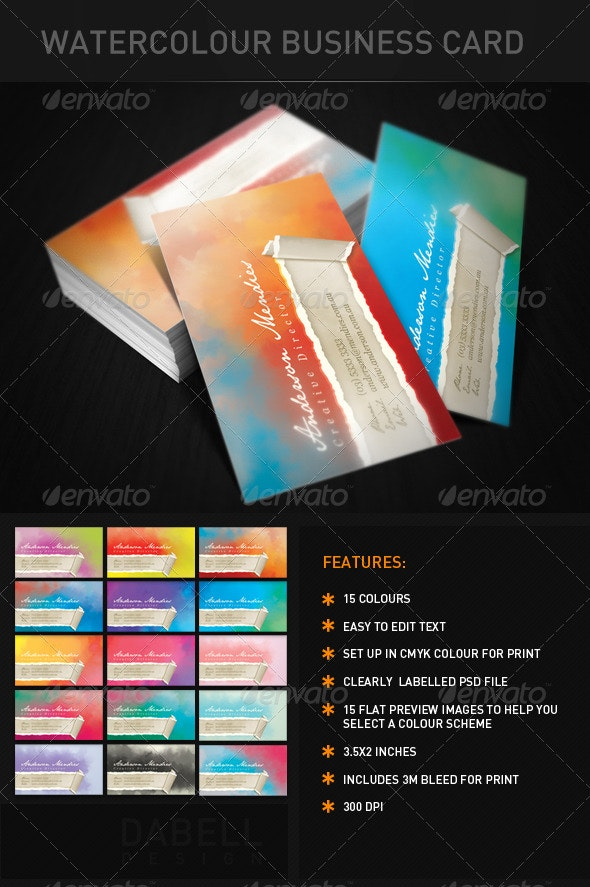 Watercolour Business Cards - Creative Business Cards