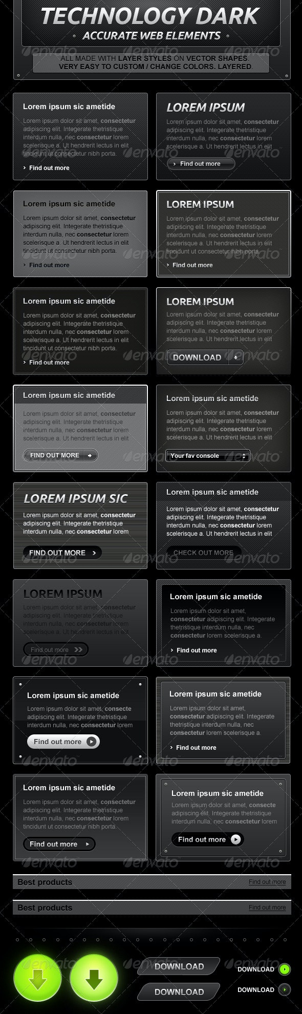 Black and Dark Web Design Elements - Miscellaneous Web Elements
