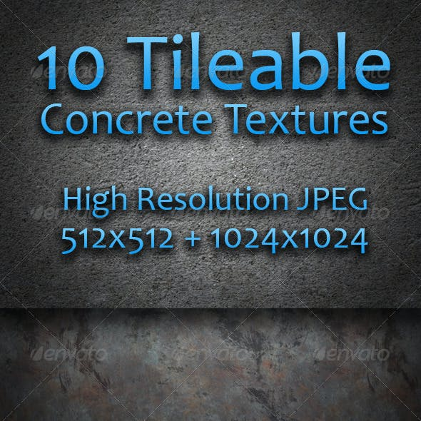 10 Tileable Concrete Textures - Pack One