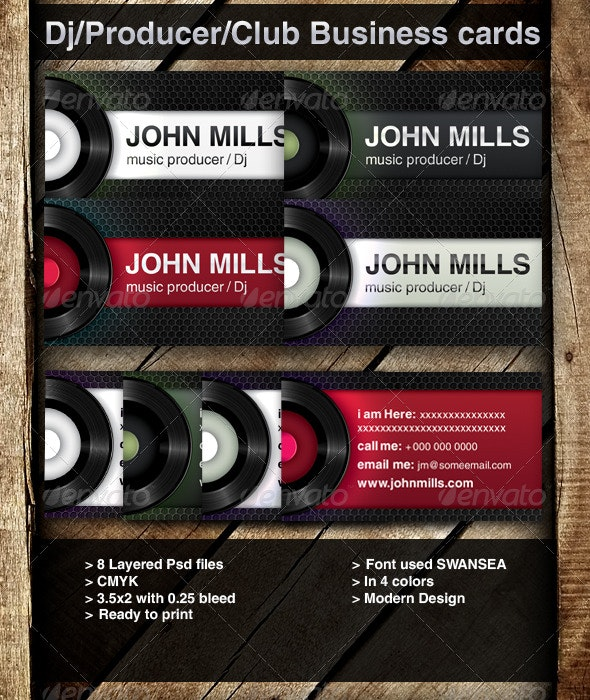 DJ / Producer/ Club Business cards - Industry Specific Business Cards