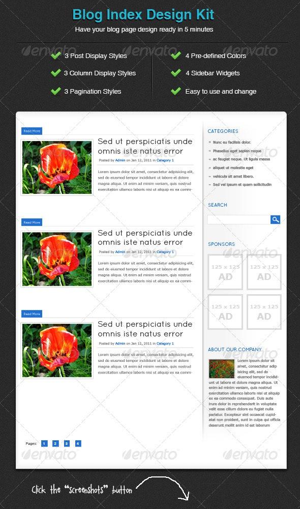 Blog Index Design Kit - Light & Classic Edition - Miscellaneous Web Elements