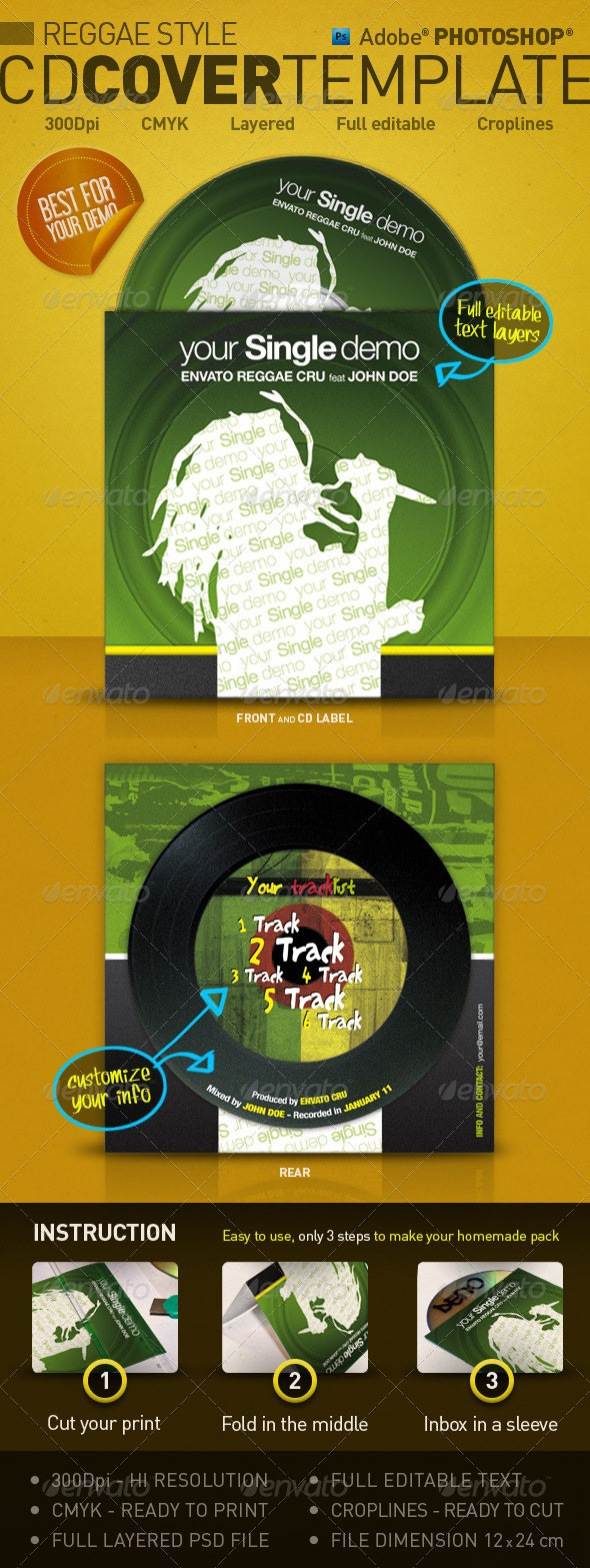 Reggae Style - CD Cover Template - CD & DVD Artwork Print Templates