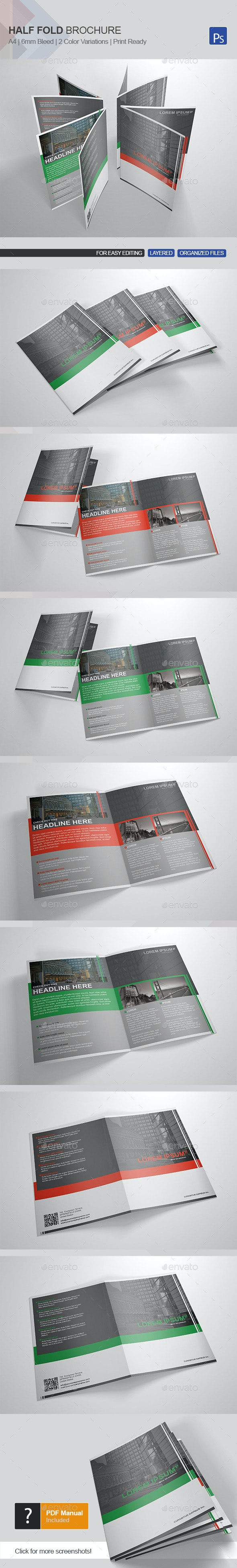 Half-Fold Brochure Template 2 - Brochures Print Templates