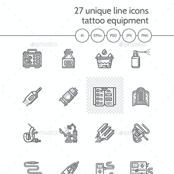 Tattoo Items Line Icons Set
