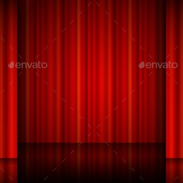 Close View Of a Red Curtain.