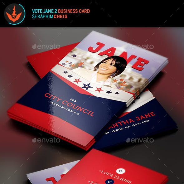 Vote Jane 2 Political Business Card Template