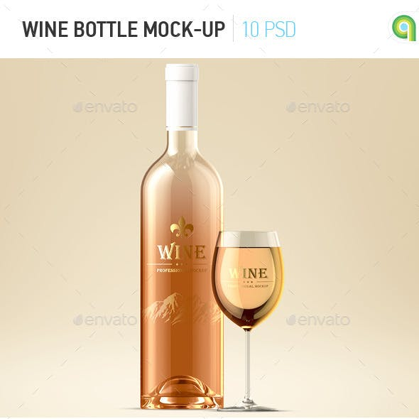 Wine Bottle and Glass Mock-up