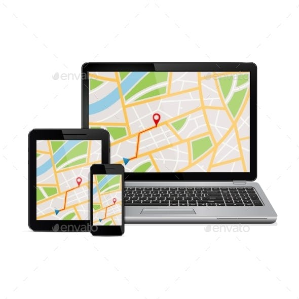 Digital Devices with Gps Navigation Map