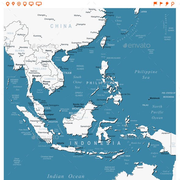 Southeast Asia Map and Navigation Labels