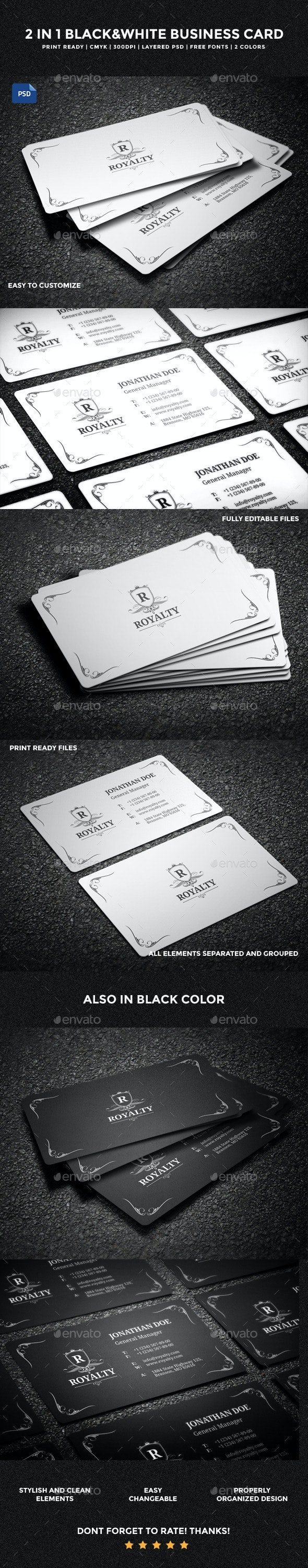 2 in 1 Black & White Business Card - 58 - Retro/Vintage Business Cards