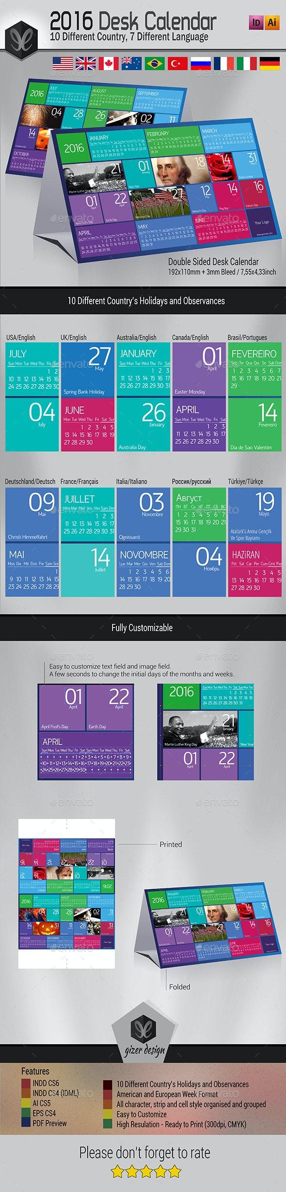 Desk Calendar 2016 - Metro - Calendars Stationery