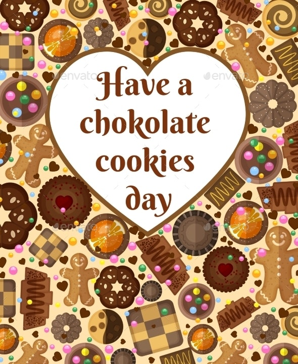 Gift Card Background With Chocolate Cookies