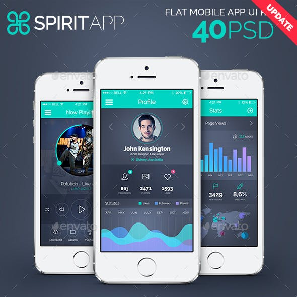 SpiritApp - Flat Mobile Design UI Kit