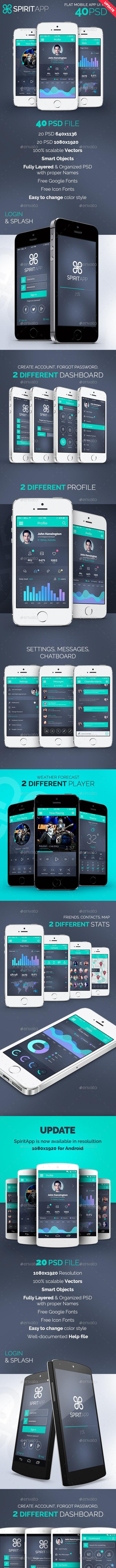 SpiritApp - Flat Mobile Design UI Kit by creakits   GraphicRiver