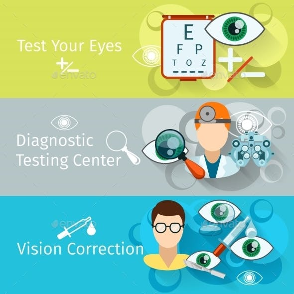 Oculist And Optometry Horizontal Banners