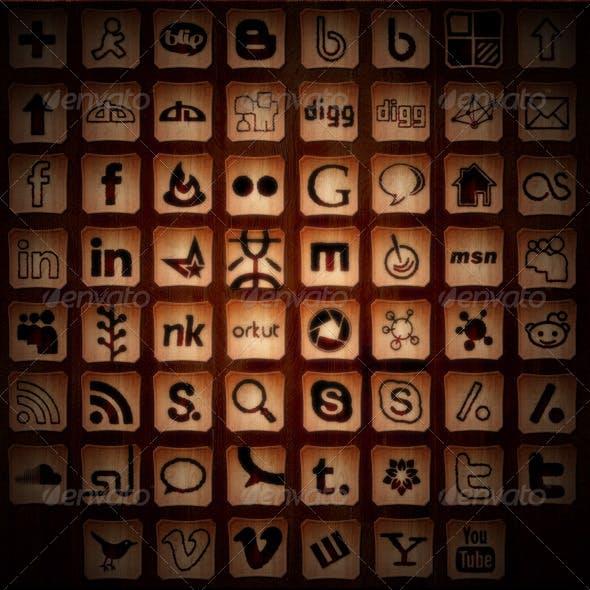 45+ Social Media Icons - Burned Wood