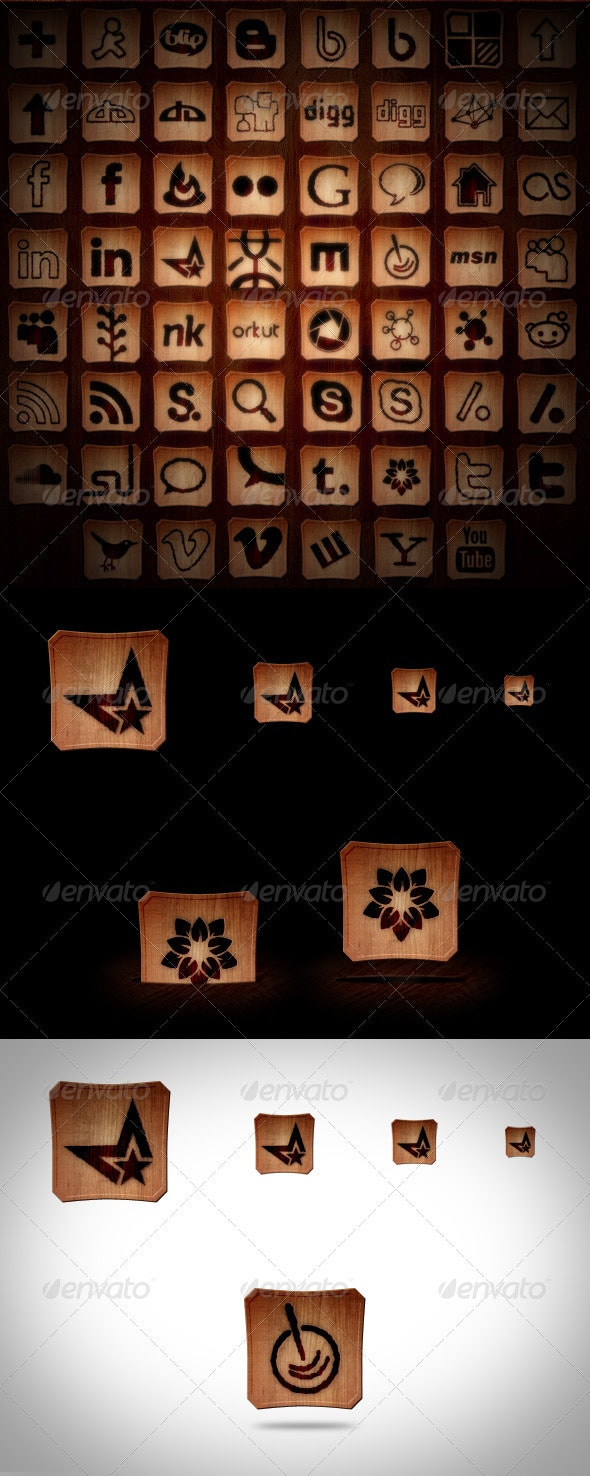 45+ Social Media Icons - Burned Wood - Web Icons