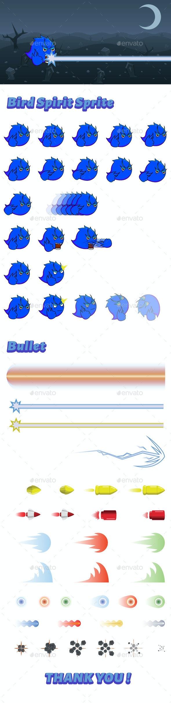 Monster Bird Spirit Sprite - Sprites Game Assets