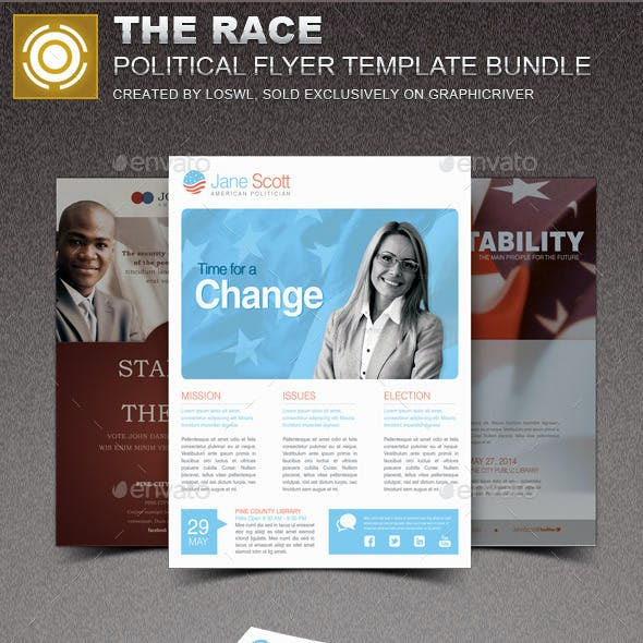The Race Political Flyer Template Bundle