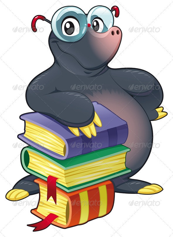 Mole With Books - Animals Characters