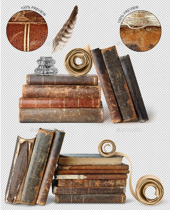 Ancient Books, Scroll, Inkwell and Quill.