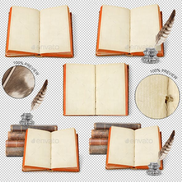 Ancient Book, Inkwell and Quill