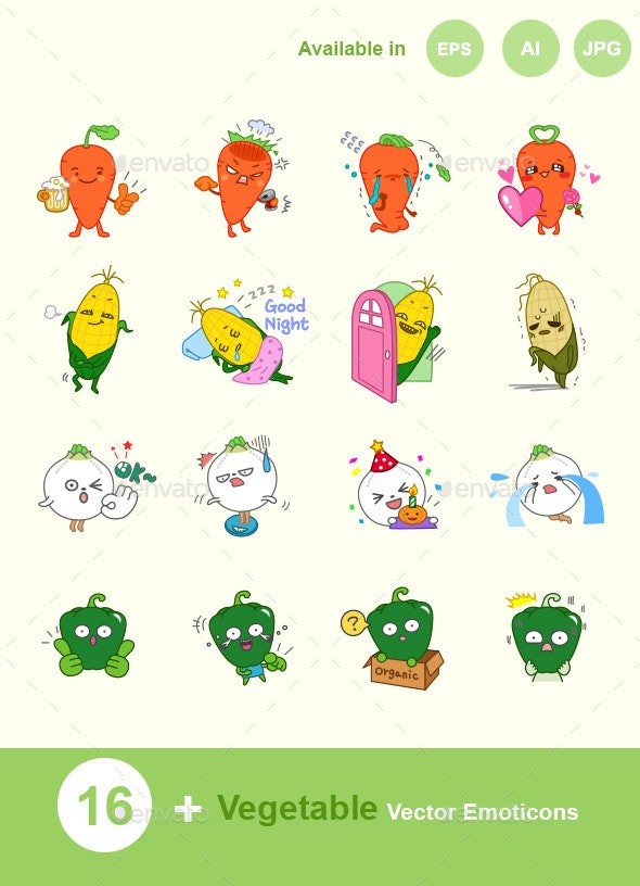 Vegetable Vector Emoticons - Characters Icons