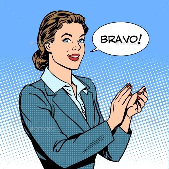 Woman Applause Bravo Concept Of Success