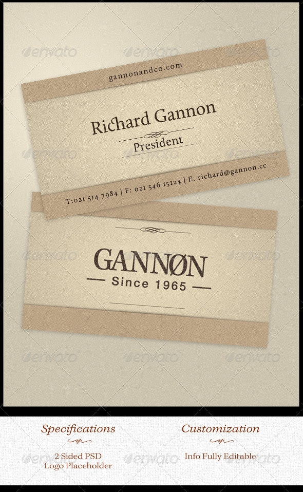 Natural Elegance - Business Card Template - Retro/Vintage Business Cards