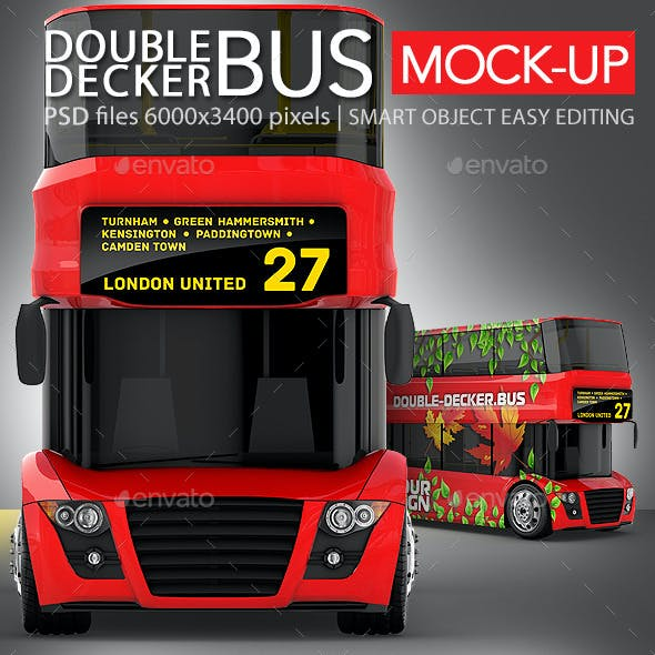 Red Double-Decker Bus Mock-up