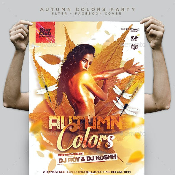 Autumn Colors Party Flyer and Facebook Cover
