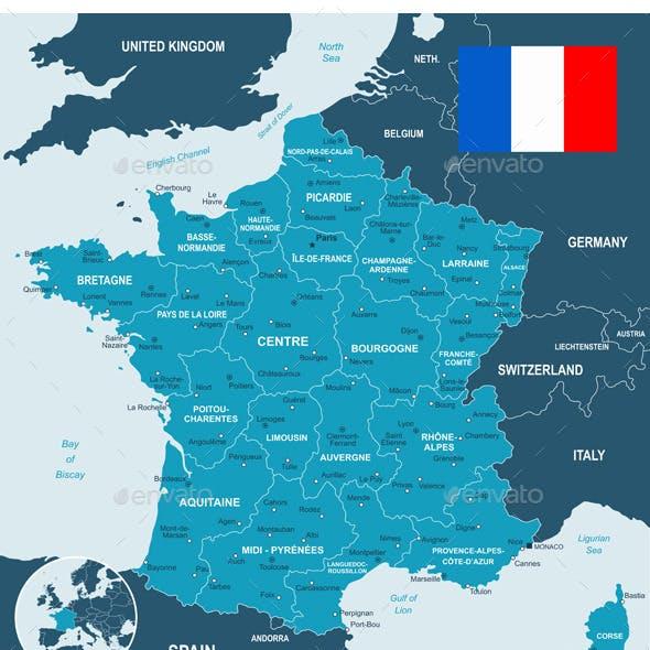 France Map, Flag and Navigation Labels.