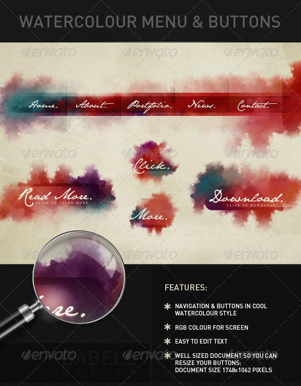 Watercolour Navigation & Buttons - Navigation Bars Web Elements
