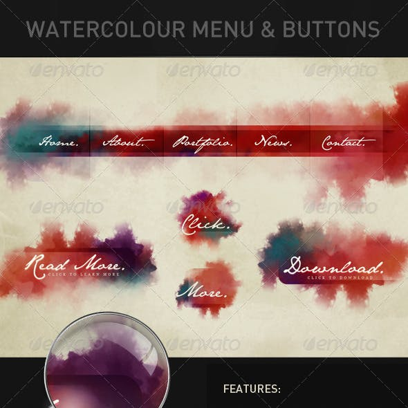 Watercolour Navigation & Buttons