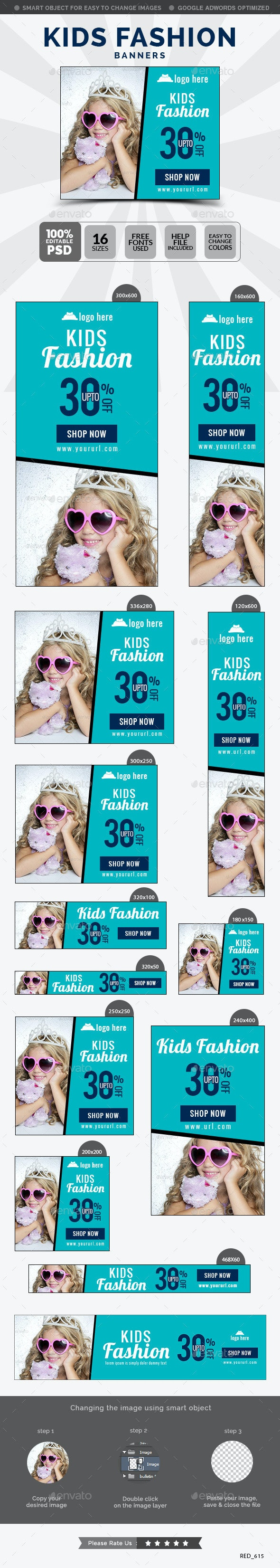 Kids Fashion Banners - Banners & Ads Web Elements
