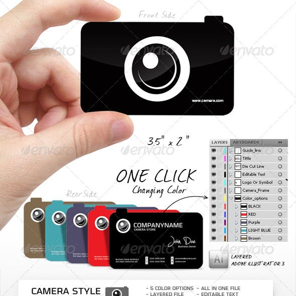 Camera Shape, Unique and Creative Business Card