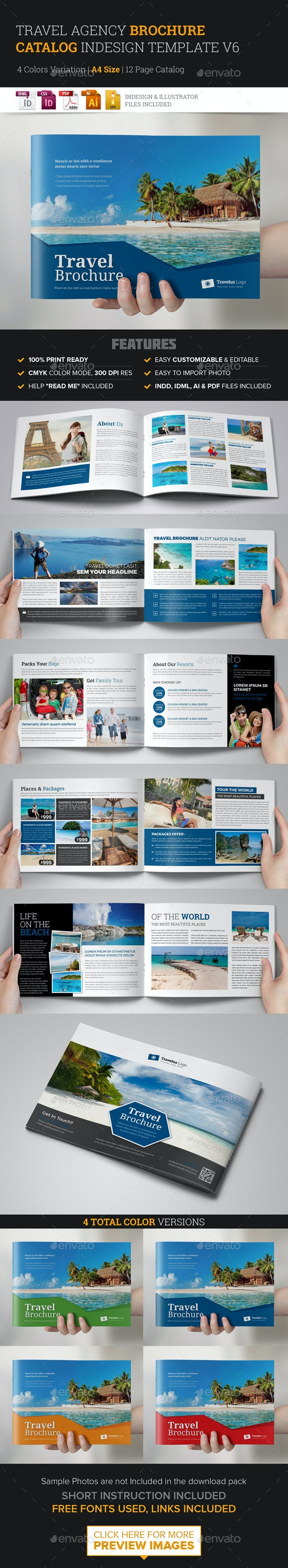Travel Brochure Catalog InDesign Template v6 - Corporate Brochures