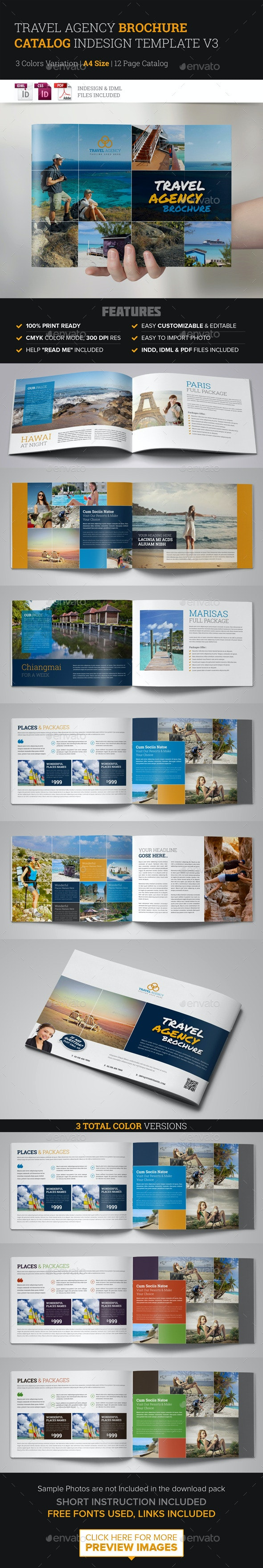 Travel Agency Brochure Catalog InDesign Template 3 - Corporate Brochures