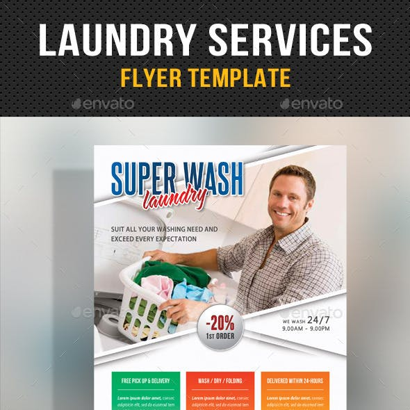 Laundry Services Flyer Template V03