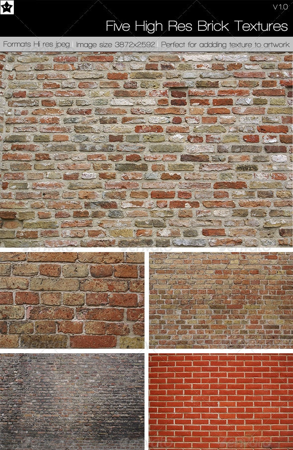 5 High Res Brick Textures - Stone Textures