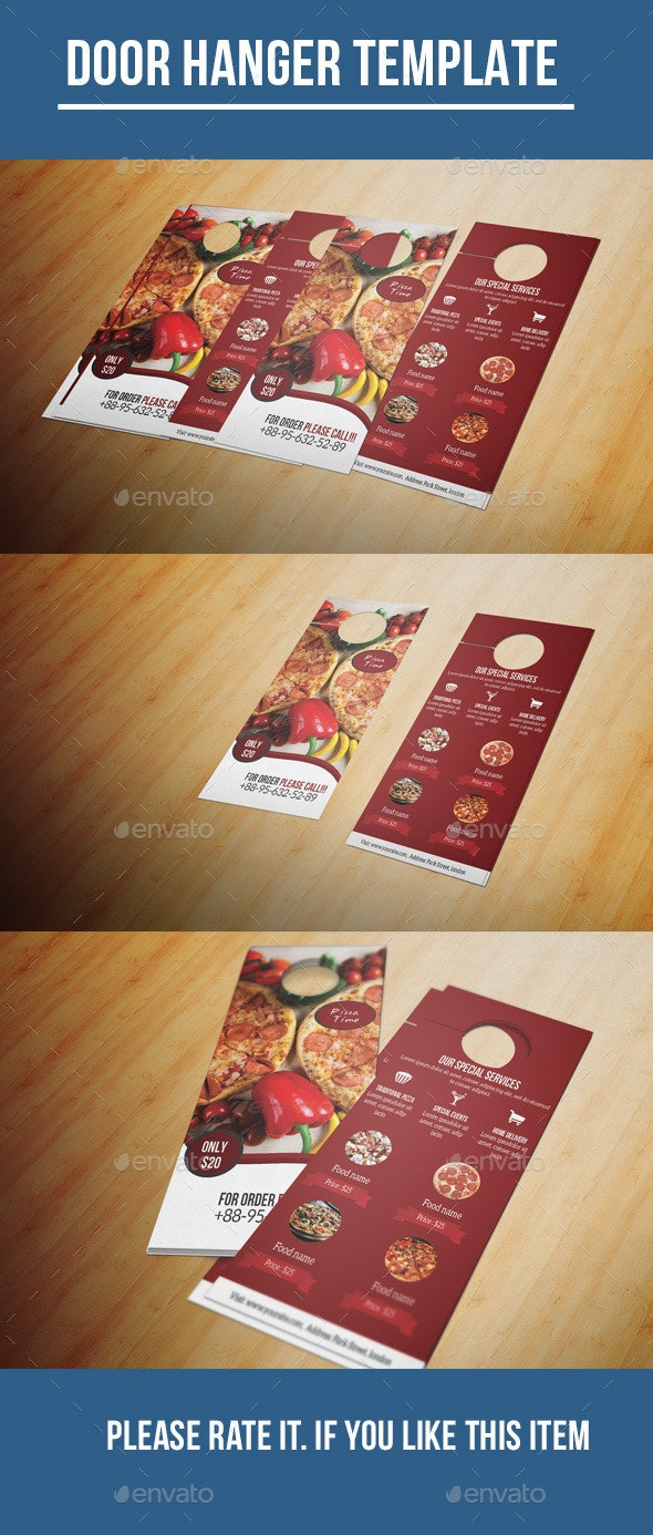 Food Menu Door Hanger - Food Menus Print Templates