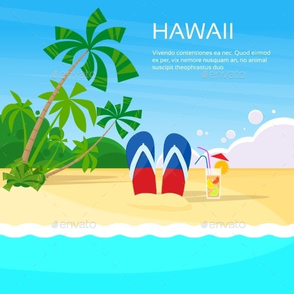 Summer Beach Flip-flops Sand Hawaii Card Tropical